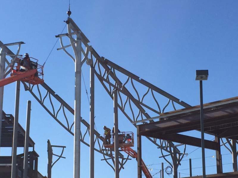 Steel trusses under construction