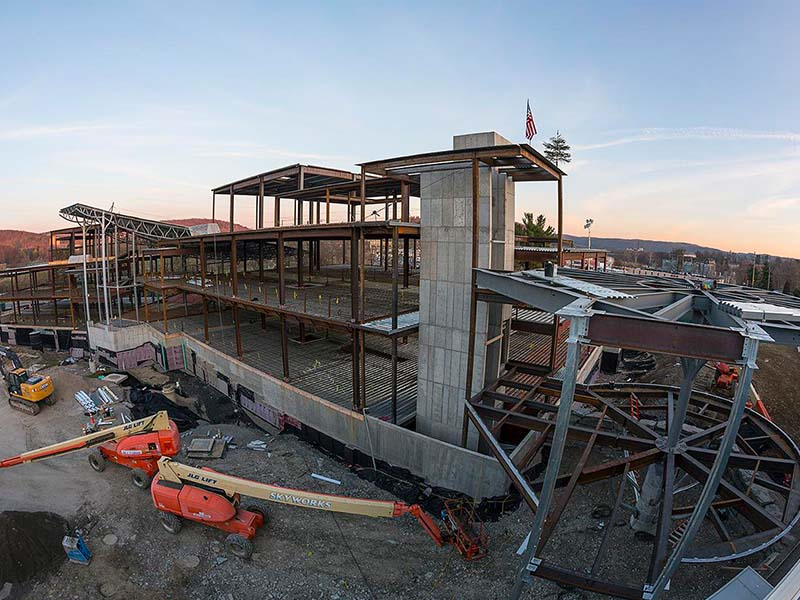 Steel frame building under construction