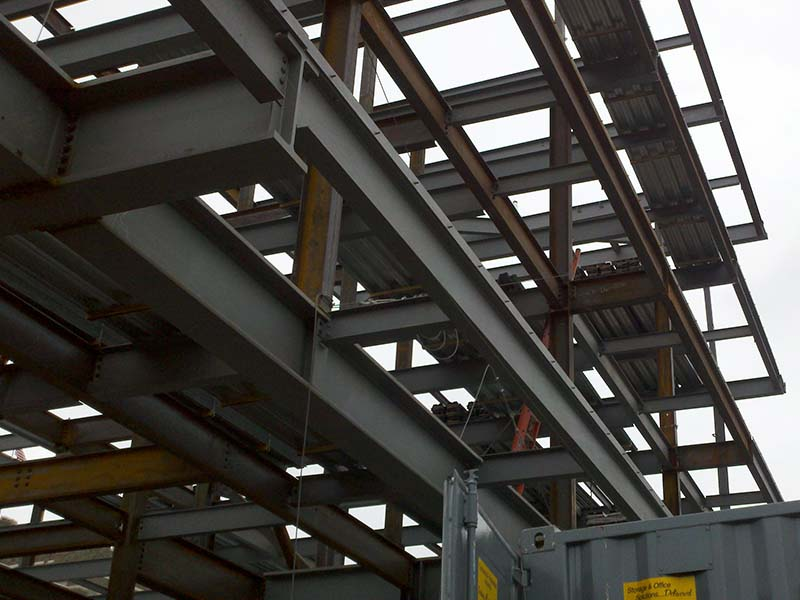 steel beams during construction of building
