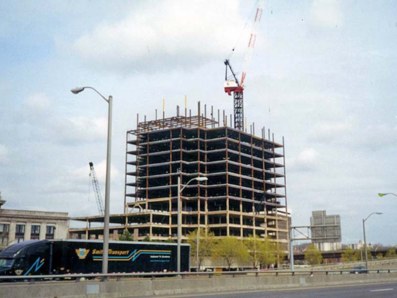 Tall steel framed building being erected