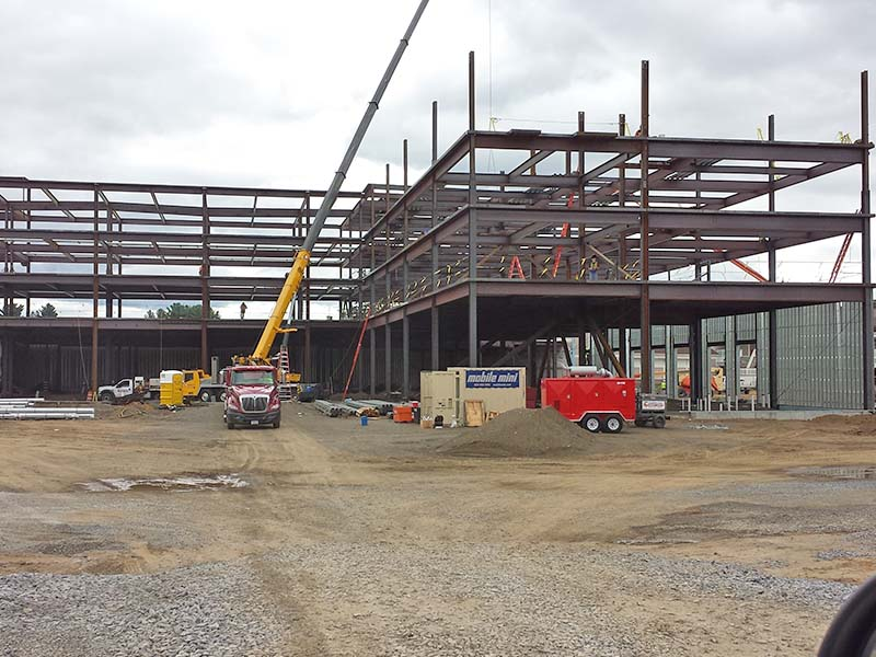 Construction of steel framed building