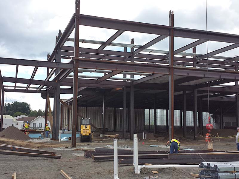 Steel i-beams for hotel building during construction