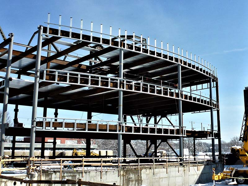 Steel building during construction
