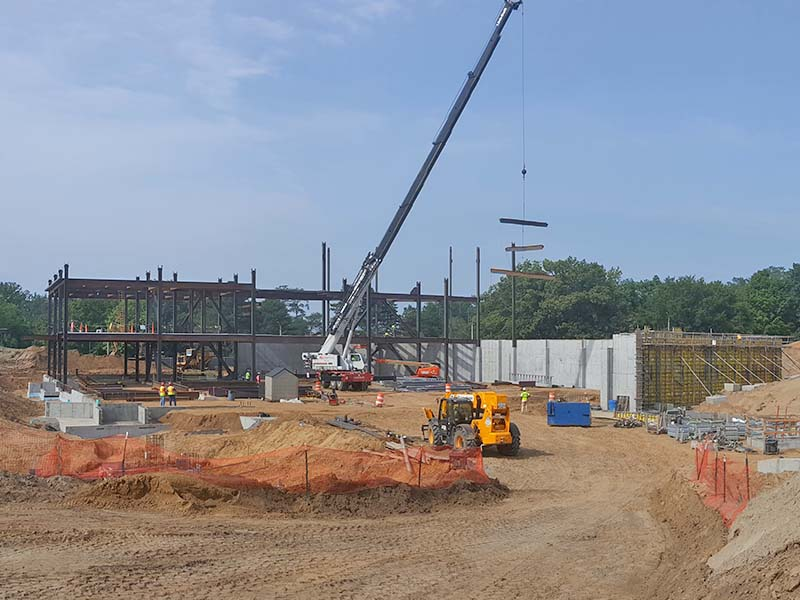 Multi story building being built of Steel I-Beams